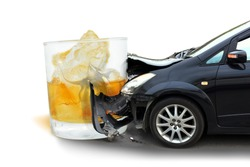 Car crash Glass of liquor The concept of Drunk driving accident.