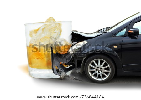 Car crash Glass of liquor The concept of Drunk driving accident. #736844164