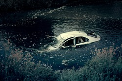 Car Crash In River With Ghost
