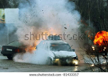Car crash on iced highway. Stunt