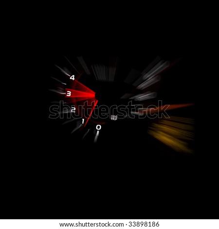 Car dashboard gauges illuminated at night, motion look