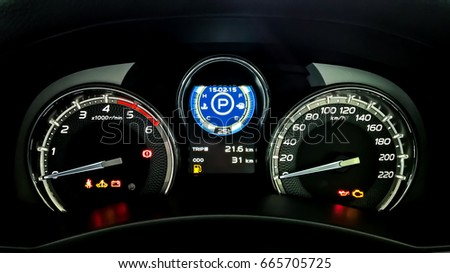 Free Dashboard Speed Indicator With Warning Lights In Car On Black - Car signs on dashboardcar dashboard signs speedometer tachometer fuel and temperature