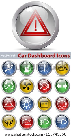 Car dashboard icons set