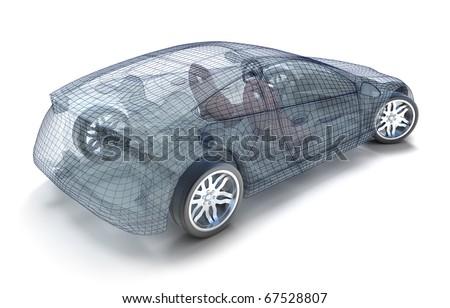 Car design, wireframe model. My own design.
