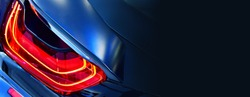 Car detail. New led taillight in hybrid sports car.copy space