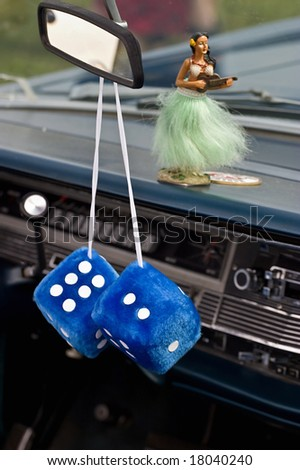 Car dice in a old american car