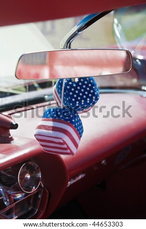 Car dice with american flag