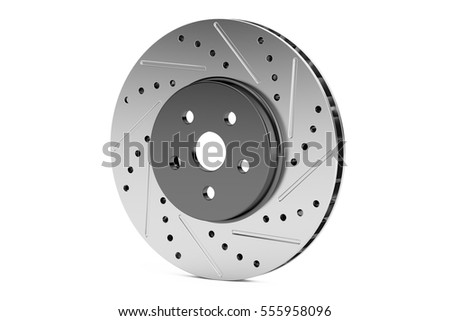 Car disc brake rotor, 3D rendering isolated on white background