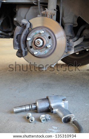 Car disc brakes and pneumatic wrench tool