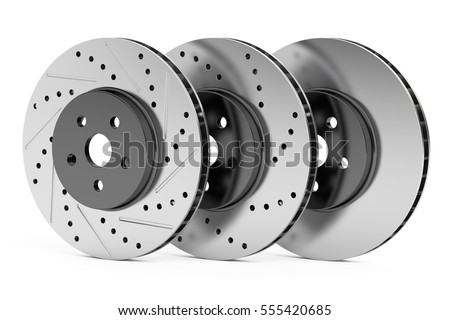 Car discs brake rotors, drilled, slotted, non-drilled, 3D rendering isolated on white background