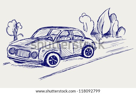 Car. Doodle style. Raster