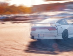 Car drifting, Blurred of image diffusion race drift car