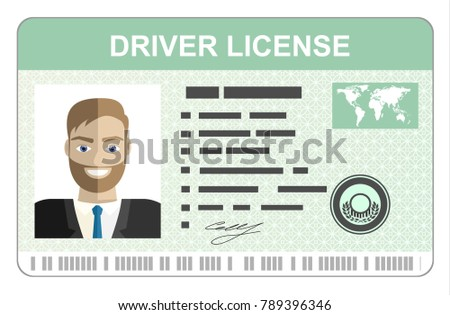 Car driver license identification card with photo. Driver license vehicle identity document. Stamp, barcode, plastic id card.