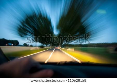 car driving drunk at night