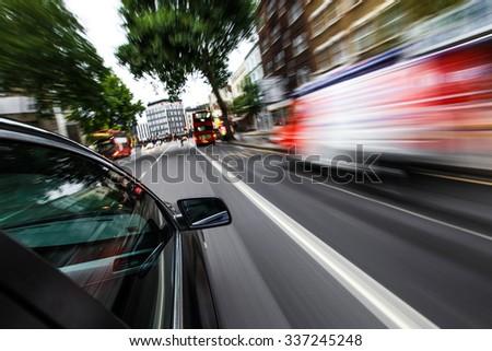 Car driving fast. #337245248