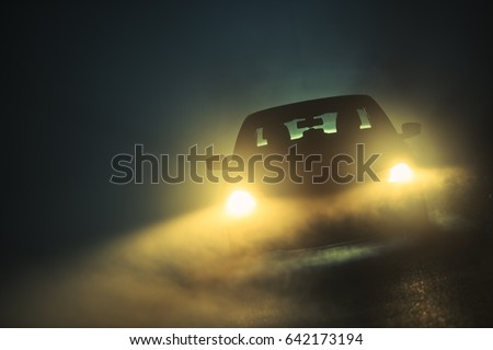 Car Driving in Dense Fog. Dangerous Road Conditions. Night Time Driving in Fog. #642173194