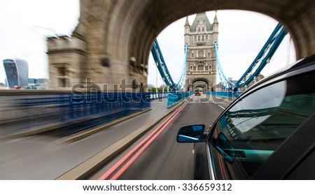 Car driving in to Tower bridge, London. #336659312