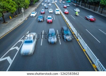 car driving on city road, high angle view, shanghai china #1262583862