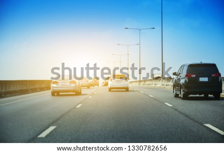 Car driving on highway  road,Car parked on road and Small passenger car seat on the road used for daily trips #1330782656