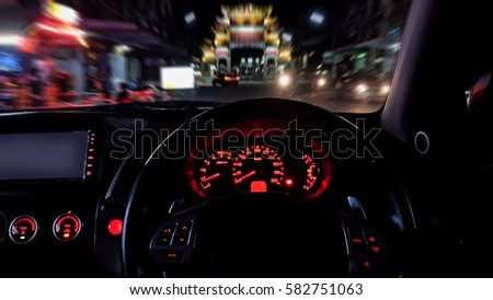 car driving on night time in...
