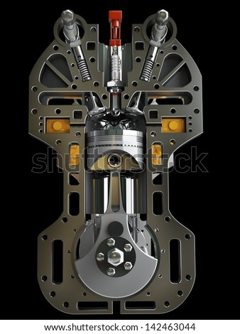 Car engine. Concept of modern car engine isolated on black background. High resolution 3d render