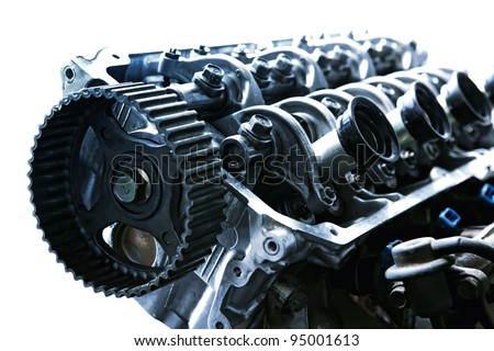 car engine inside view isolated over white