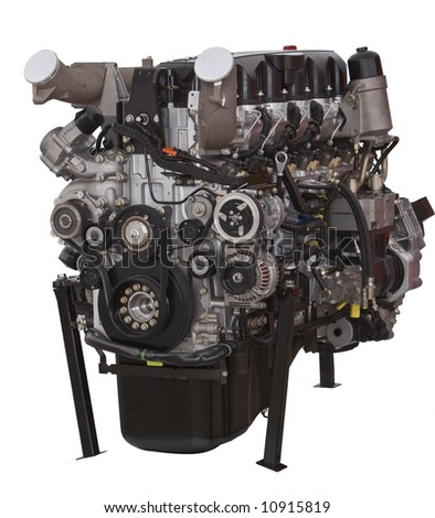 Car engine isolated against a white background.