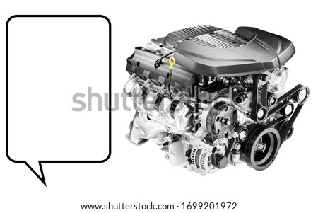 Car Engine Isolated on White. Aluminium Modern V8 Car Engine Front Side View. Eight-Cylinder Cast Iron Auto Gas Engine. Automobile Repair & Maintenance. Internal Combustion Short Block Engine