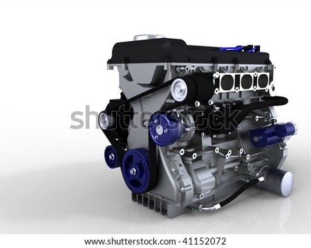 Car engine isolated on white with ground reflection