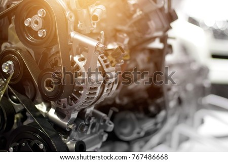 Car engine part, concept of modern vehicle motor and cut metal car engine part details #767486668