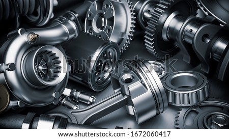 Car engine parts. Closeup 3d render Photo stock ©