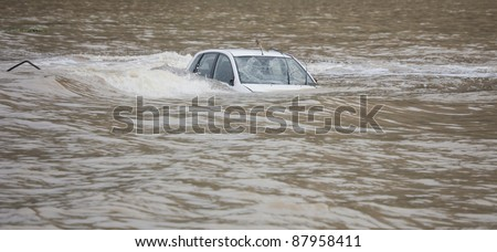 Car flooded in the Ocean - Flood Disaster in Olympos, Turkey, Asia