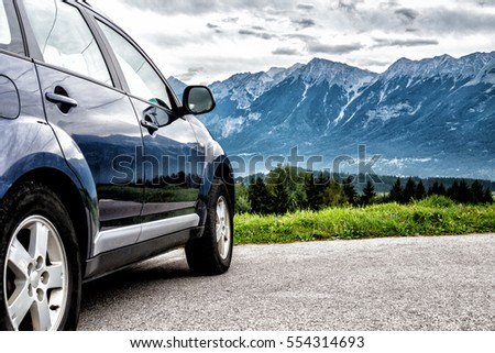 car for traveling with a mountain road #554314693