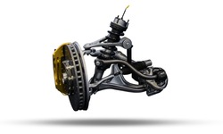 Car Front Axle. Sports car front suspension. Automotive industry components.