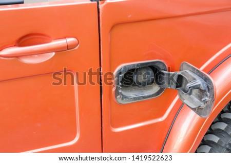 car gas tank close up view. transportation details concept