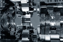 Car gearbox mechanics interior cog wheels