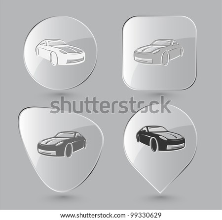 Car. Glass buttons. Raster illustration.