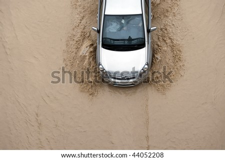 Car going through flood highway #44052208
