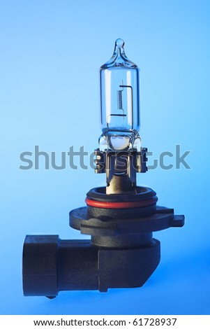 Car halogen bulb isolated on blue background
