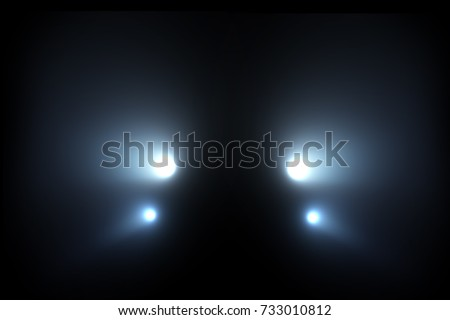 Car head lights shining from darkness background. Raster illustration lightning template.