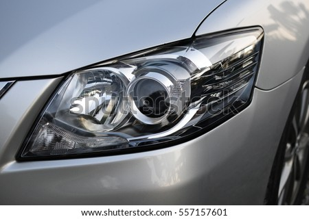 Car headlight with shallow depth of field #557157601