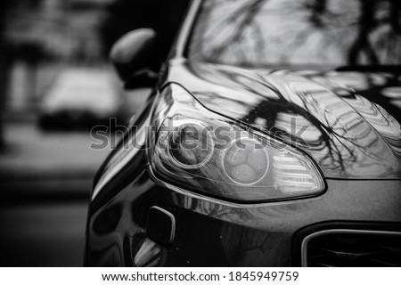 Car headlights. Exterior closeup detail. Car detail