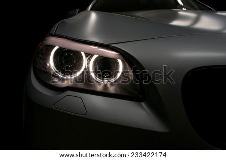 Car headlights. Exterior detail.