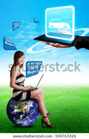 Car icon on tablet computer and woman on globe : Elements of this image furnished by NASA