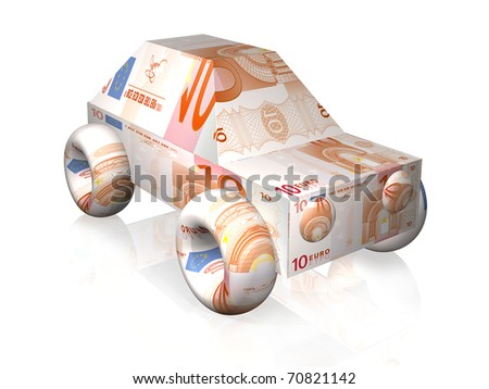 car illustration with euro notes