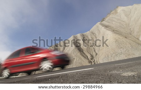 Car in a arid landscape