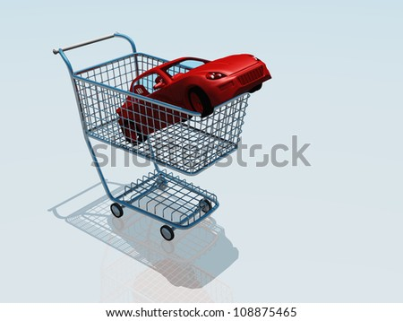 Car in a shopping cart