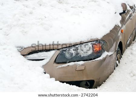 Car  in a Snow. Unhappy parking