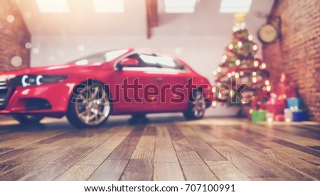 car in chrismas room and decorated. chrismas tree is in a white room. 3D renderring and illustration,