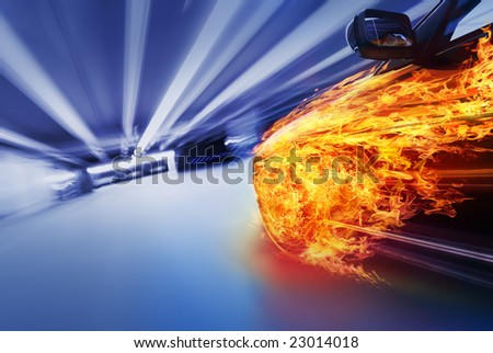 Car in fire - stock photo